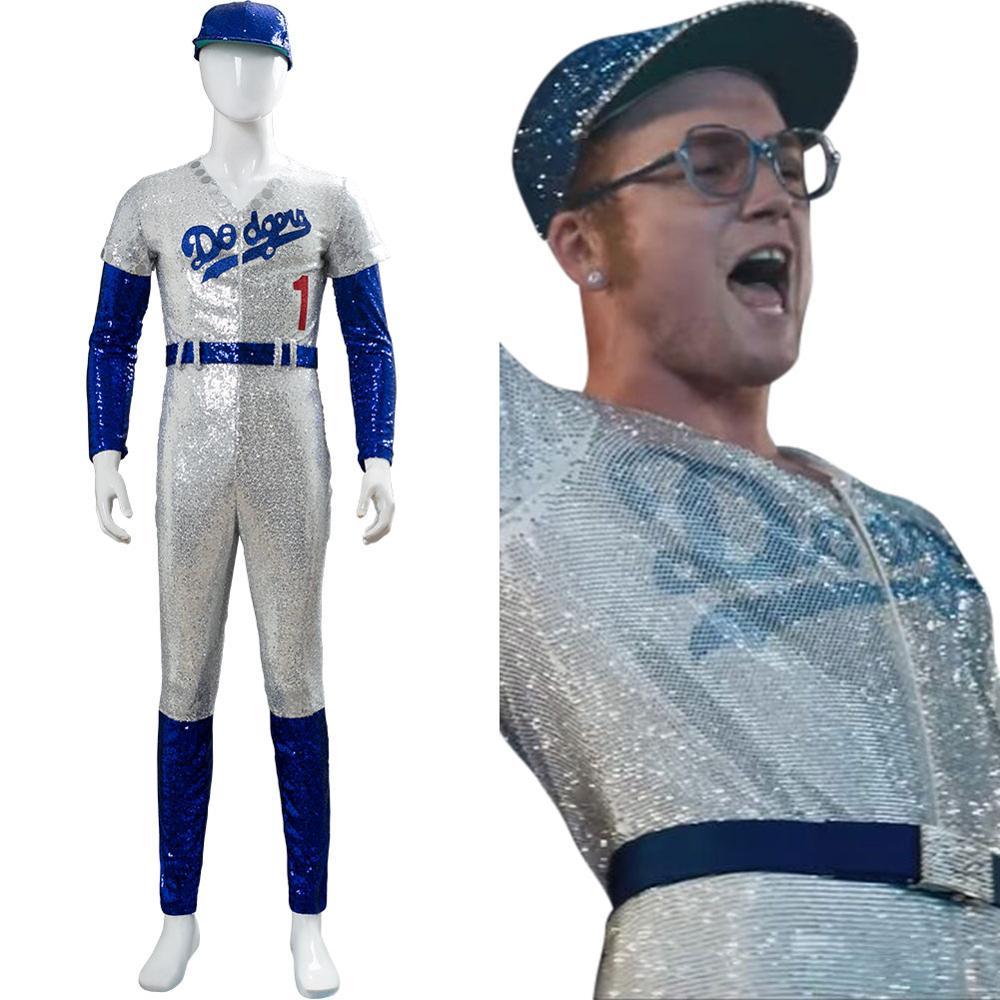 Rocketman Elton John Dodgers Cosplay Costume Baseball Uniform Jumpsuit Cap Full Set Adult Boys Men Halloween Carnival Costume