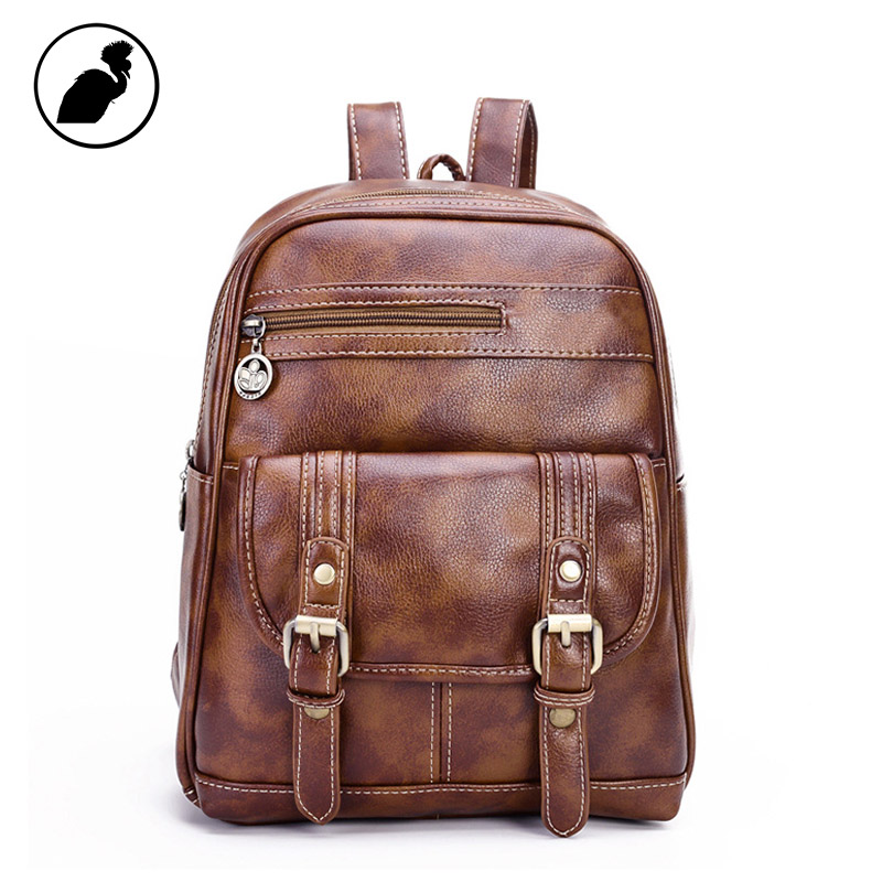 0186b6d2d5 ETONWEAG Brands Litchi Rind Leather Schoolbag Backpack Women Brown Fashion  School Bags For Girls Travel Luggage Back To School