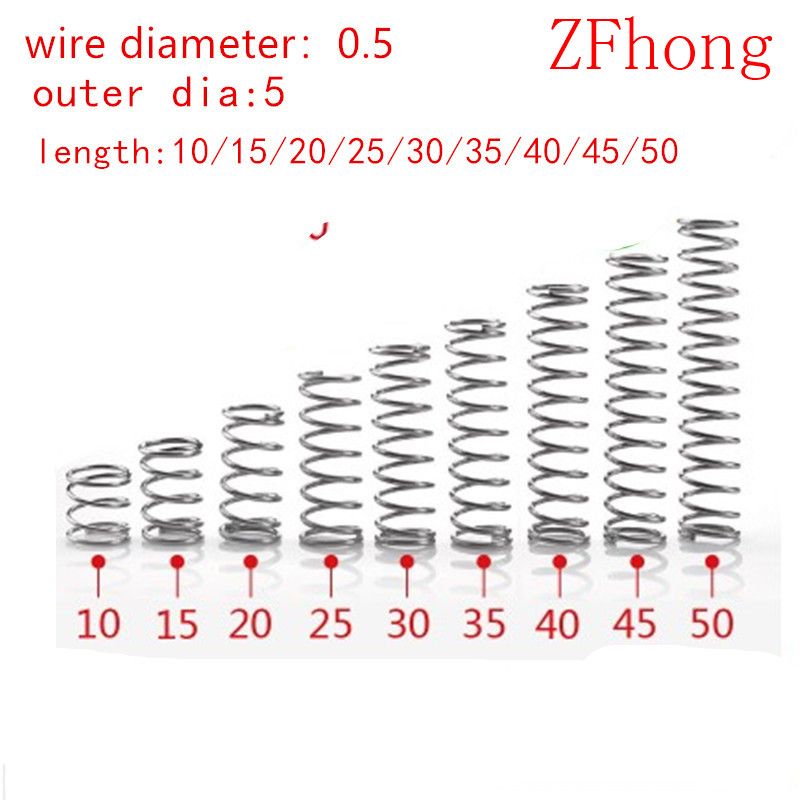 20pcs compression spring wire diameter 0.5mm outer diameter 5mm Stainless Steel Micro Small Compression spring length 10mm-50mm(China)