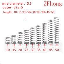 Fio de mola de compressão de diâmetro 0.5mm, diâmetro exterior 5mm de aço inoxidável micro pequena mola de compressão, comprimento 10, 20 peças mm-50mm