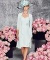Céu Azul 2017 Mãe Da Noiva Vestidos Bainha Com Decote Em V meia Manga de Renda Com Jaqueta Curta Mãe da Festa de Casamento Vestidos vestidos