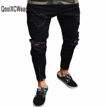 QoolXCWearl Mens Hole Jeans Plus Size S-3XL Slim Biker Casual Denim Skinny Frayed Pants Distressed Rip Jeans Black