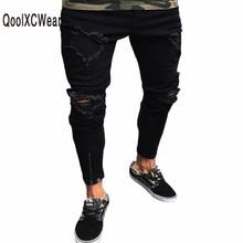 QoolXCWearl Mens Hole Jeans Plus Size S-3XL Slim Biker Casual Denim Skinny Frayed Pants Distressed Rip Jeans Black