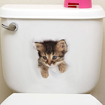 Cats 3D Wall Sticker Toilet Stickers Hole View Vivid Dogs Bathroom Home Decoration Animal Vinyl Decals Art Sticker Wall Poster 24