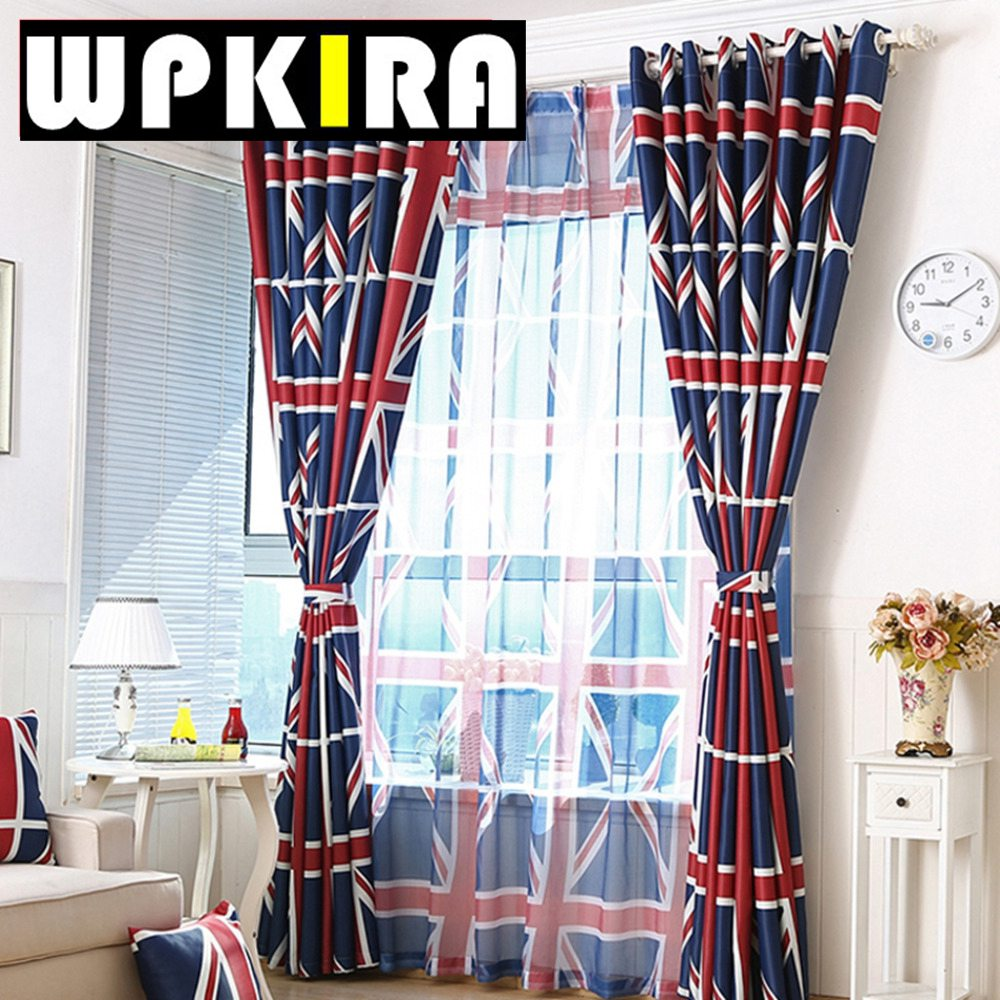 Red patterned curtains - Printed Uk Flag Patterned Blackout Curtain For Kids Room Healthy Baby Boy Room Curtain Drapery Blue Red Kid Curtain Panel 30