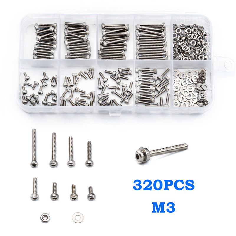 320 PCS M2 304 Stainless Steel Hexagon Socket Head Cap Screws Bicycle Hex Bolts With Nut Flat Washer Assortment Tool Box factory direct sales stainless steel hexagon socket head cap screw single coil spring lock washer and plain washer assemblies