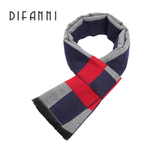 Difanni New Brand Winter Mens gift Gray Striped Scarves Business gentleman,Cashmere Scarf ,Men Scarves,Cashmere feeling wrap