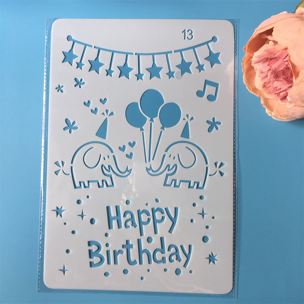 26cm Happy Birthday Elephant DIY Craft Layering Stencils Painting Scrapbooking Stamping Embossing Album Paper Template