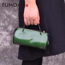 EUMOAN brand Retro oil wax leather bucket bag cowhide handbag mini slung mobile phone cylindrical