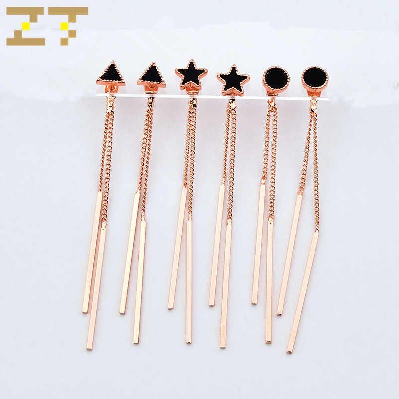 Hot Sale Fashion Black Small Triangle Round Pentagram Star Long Gold Metal Rod Tassel Statement Earring for Women Female Brincos