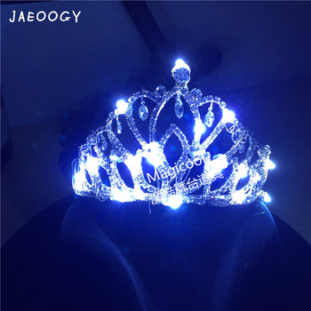 Free shipping LED light bride crown lounge wine flowers charging a Headband Tiara props