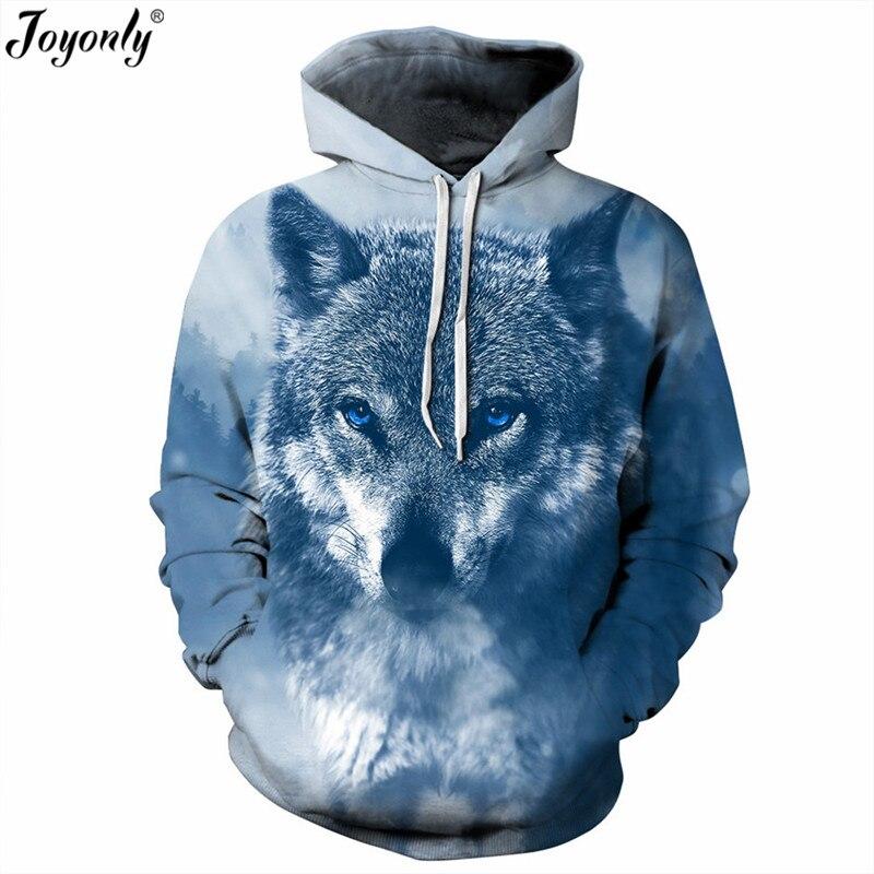 Joyonly 2018 New Thin Hoodies Women Men Cool 3D Animal Snow Wolf Direwolf Printing Hooded Sweatshirt Unisex Casual Pullover Tops