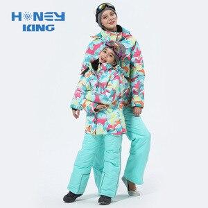 Image 3 - Combinaison de Ski pour mère et fille, imperméable et coupe vent pour faire du snowboard + pantalon, vêtements dhiver pour adultes et enfants