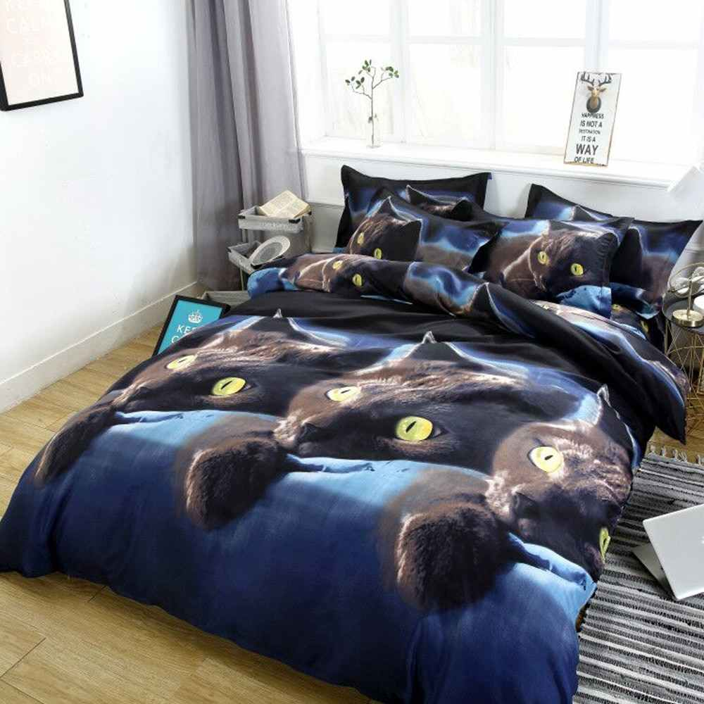 1.5*2m/2*2.3m/2.2*2.4m 3D Cat Printed Duvet Cover Bed Sheet 2PCS Pillowcase Bedding Set Bedclothes Decor Kids bedding set single