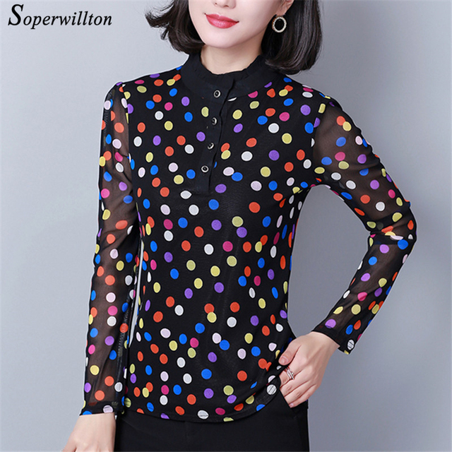ee5e99ae8e1 Print Stand Neck Blouse 2019 Spring Polka Dot Flower Ladies Top  transparency Women s Shirts Button Blusas Large Size 3XL 4XL