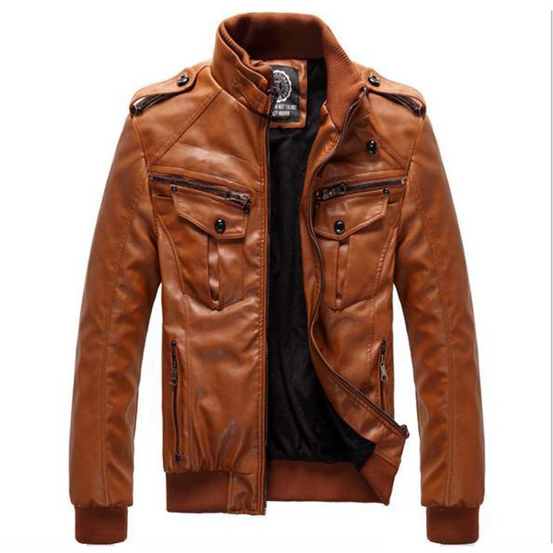 Autumn Winter Men Fall Jacket Windbreaker Soft Shell PU Leather ...