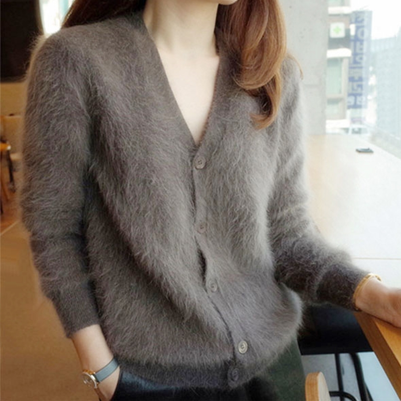 New Women Mink Cashmere Cardigans 2019 Button Sweaters Korean Yellow Crop Knitted Coat Women Tricot Short Black Sweaters Female