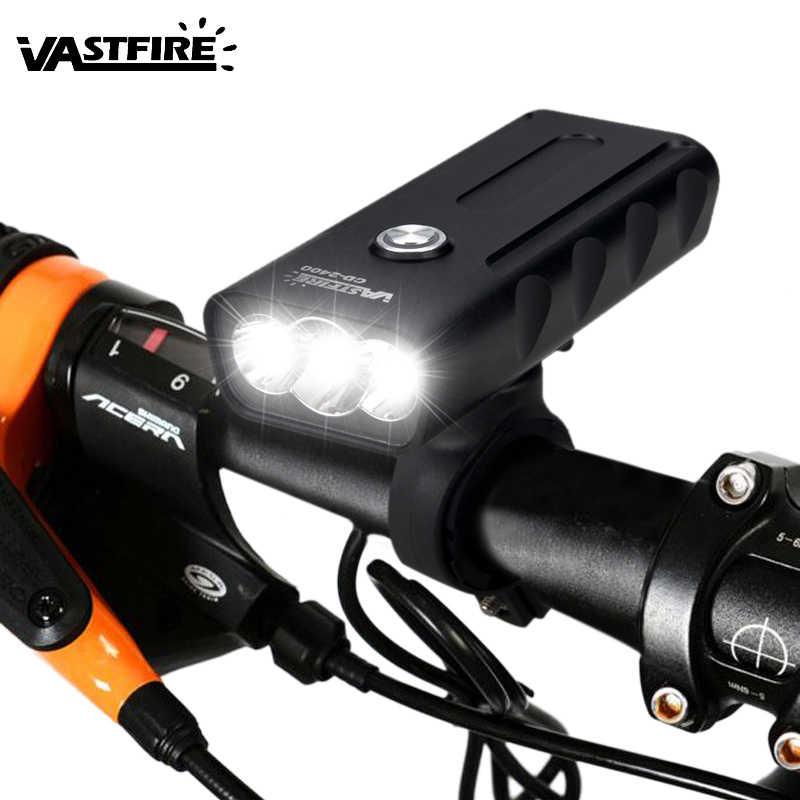 recargable agua noche de batería incorporada bicicleta bicicleta lámpara prueba linterna seguridad bicicleta a frontal USB 3T6 Luz ciclismo faro de 6ybfg7
