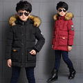 Winter Fur Hooded Down Jackets For Boys Padded Coats Thickeing Warm Children Parka Brand Patches Teenage Kids Outerwear L-52