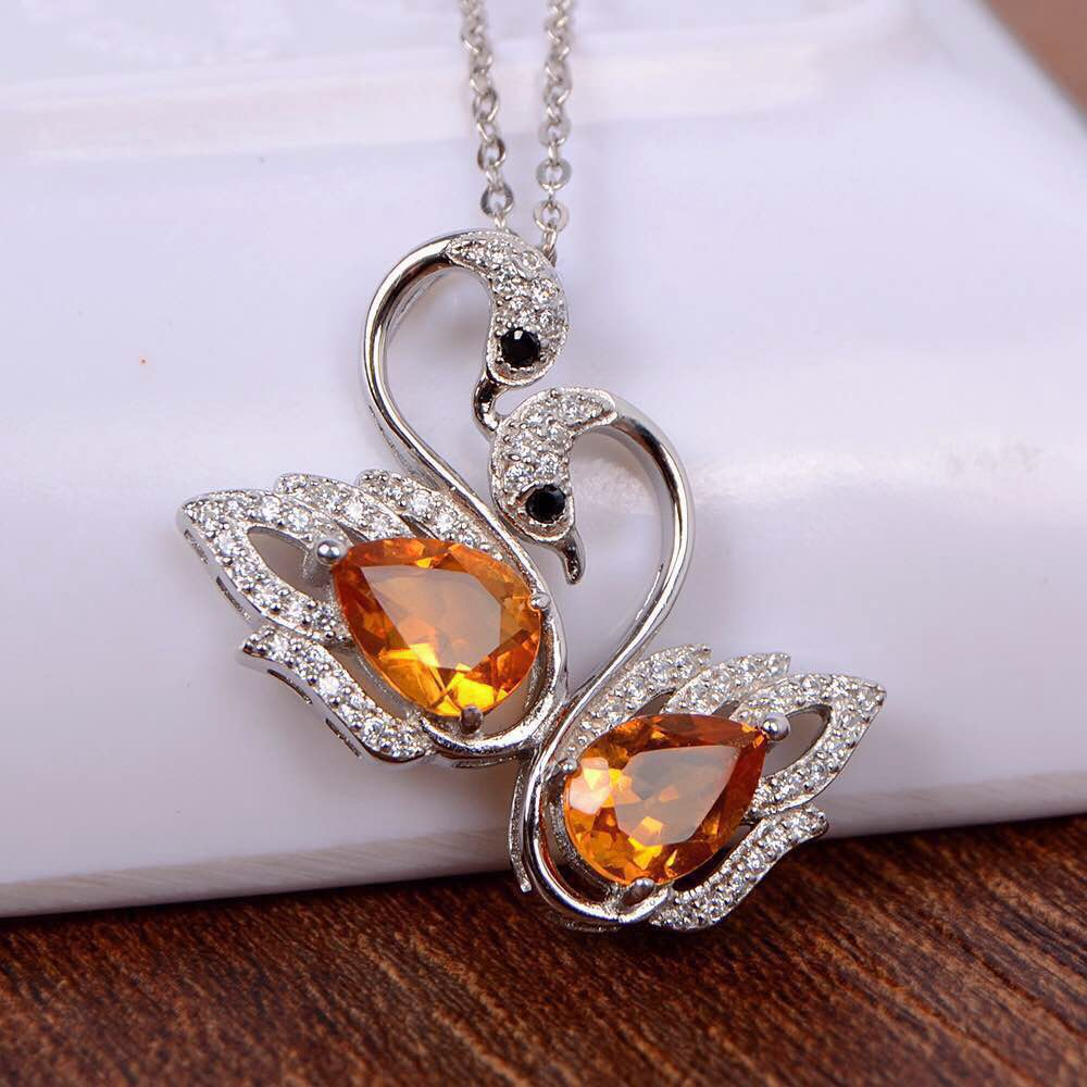 Natural citrine pendant S925 silver Natural yellow crystal Pendant Necklace trendy Romantic couple swan women party fine jewelry