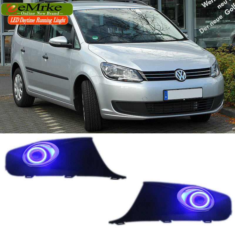eeMrke LED Angel Eyes Daytime Running Lights For Volkswagen Caddy 2K Fog Lamp Light Halogen Bulbs H11 55W
