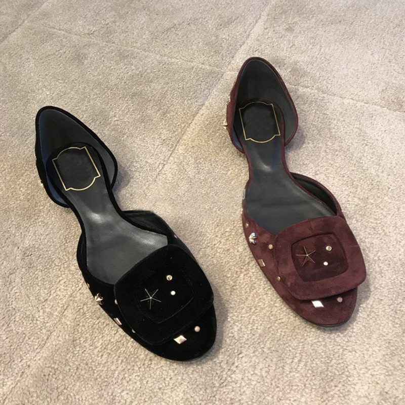 2018 Spring Summer Shoes Woman Casual Flats Round Toe Dorsay Flats Design Square Buckle Metal Decor Lady Shoes Zapatos Mujer2018 Spring Summer Shoes Woman Casual Flats Round Toe Dorsay Flats Design Square Buckle Metal Decor Lady Shoes Zapatos Mujer