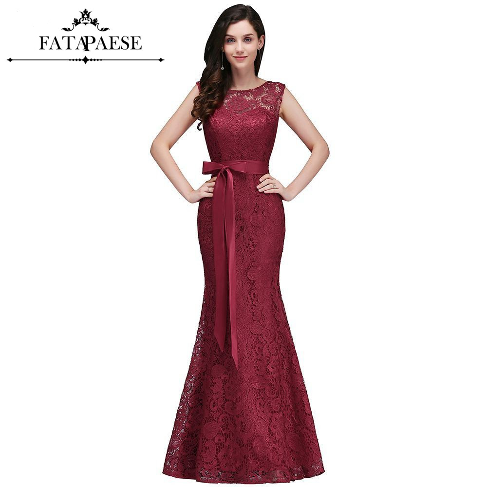 Elegant Burgundy Lace Mermaid   Evening     Dresses   2019 Sleeveless Formal Party   Dresses   With Belt vestido de festa longo