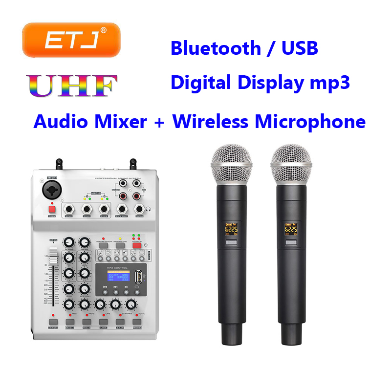 Console Audio Bluetooth Microphone sans fil UHF double canal multi-fonction affichage numérique MP3 USB enregistrement 48V Phantom