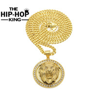 Mens Hip Hop Jewelry Iced Out 18K Gold Plated Fashion Bling Bling Lion Head Pendant Men