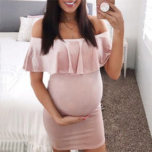 Maternity Clothes Pregnancy Clothes Fashion Women Pregnants Off Shoulder Ruffles Solid Casual Dress Maternity Dress JE04#F(China)