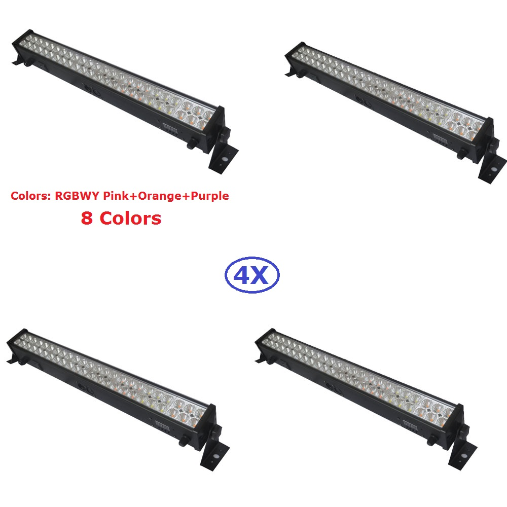 4XLot Led Wall Washer Lights 48X3W 8 Colors Led Light Bar Running Horse Funtion DMX Dj Disco Party Show Effect Stage Projectors rg mini 3 lens 24 patterns led laser projector stage lighting effect 3w blue for dj disco party club laser
