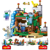 378pcs 4 In 1 MY WORLD Compatible Legoing Minecrafted Figures City Building Blocks Bricks Set Educational