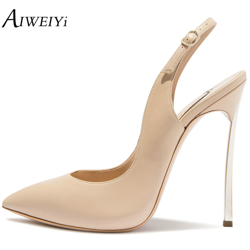 AIWEIYi Brand Stiletto Heel Pumps Slingback High Heel Dress Shoes Pointed Toe 12cm High Heel Black Nude Ladies Dress Party Shoes shoesofdream ladies high heel closed pointed toe solid plain pumps decoration handmade for wedding party dress stiletto shoes