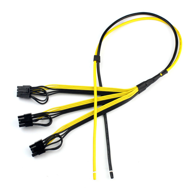 5pcs Power Video Card Cable Mine Machine Adapter Cable 3x (6 +2) Pin Line, The Main Line 12AWG + Sub Line 18AWG Mining Wire