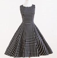summer women dress print black and white plaid cotton plus size xxxl dress UK size vintage dress revival 50s 60s classic dresses