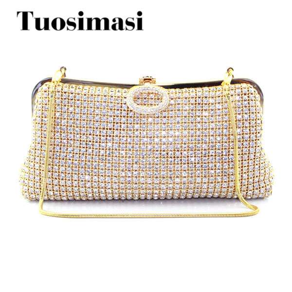 Gold Crystal Evening Clutch Bag Cheaper Rhinestones Bridal Party Purse Boutique Evening bag Shoulder bags Handbags Clutches faux crystal mosaic clutch evening bag