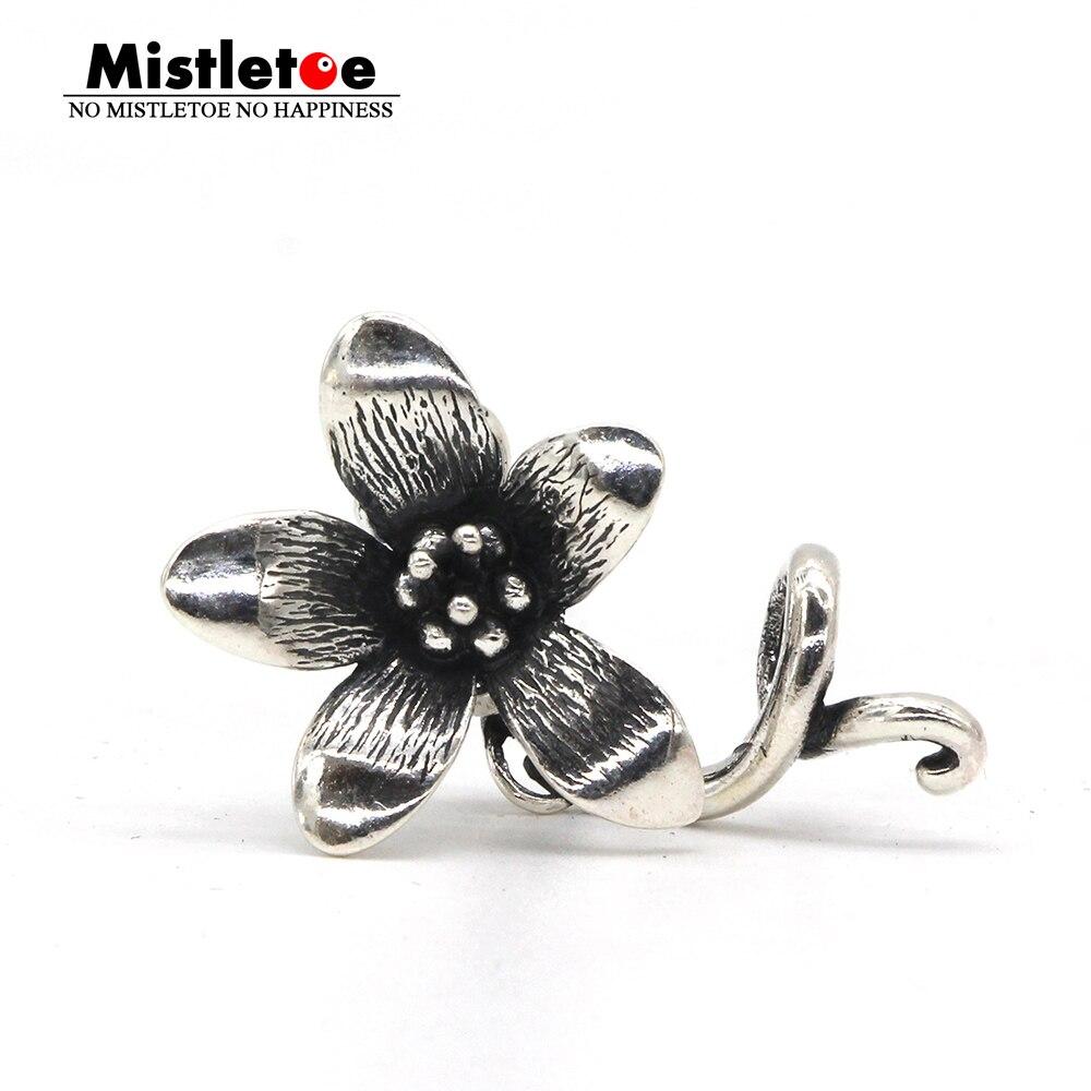 Mistletoe Jewelry Genuine 925 Sterling Silver Not Original Flower Troll Anemone Pendant Fit European Bracelet Necklace Rose