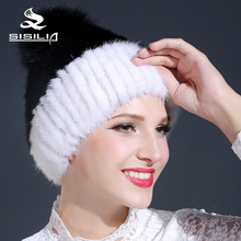 2016 new winter's fur hat 100% real mink fur hat beanies cap keep warm fur female cap