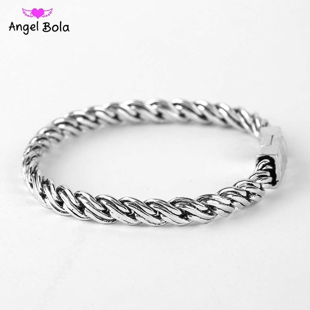 Womens Biba Bracelet Biker Wristband Vintage Totem Curved Edging Curb Chain Ancient Silver Buddha Bangle Jewelry Free Shipping bangle