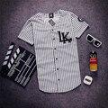 Mais novo Mens Verão Camiseta Tyga Últimos Reis LK Listrado Camisa do basebol T Retro Devanagari Camisas Com Decote Em V Hip Hop Streetwear topos