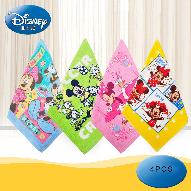 Disney 4 Pcs/set Cotton Square Towel Home A Variety Of Styles Children's Towel Children's Cotton Wash Towel