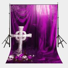 5x7ft Funny Horror Backdrop White Cross Photography Background Ultra Violet Color Backdrop
