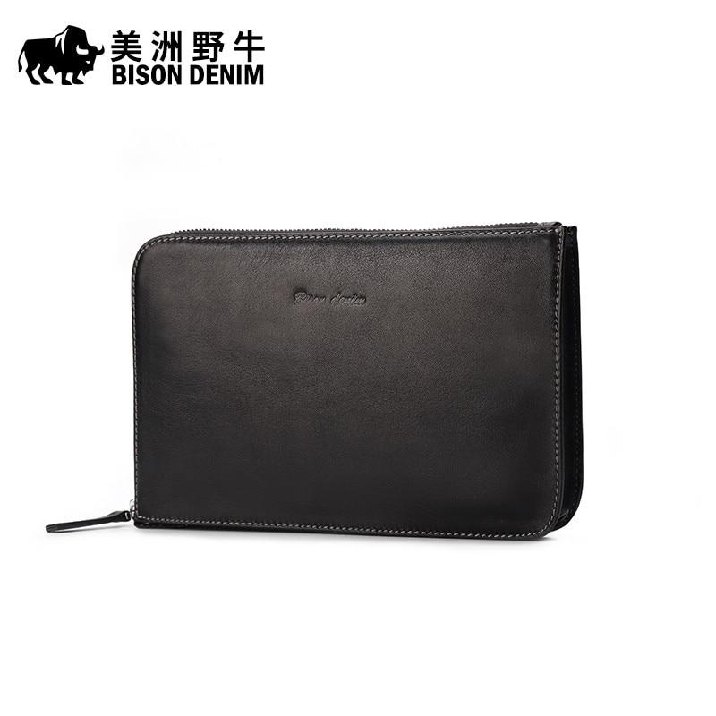 BISON DENIM New Men Genuine Leather Business Large Capacity Clutch Bag Handbag Brand Men's Envelope Bag Cowhide Wallet Free Ship