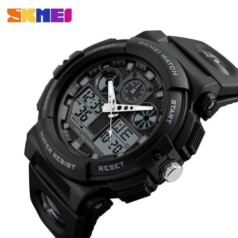 SKMEI marca hombres relojes Negro hombres Dual Display Digital cuarzo reloj hombres deporte relojes hombres impermeable Relogio Masculino
