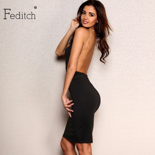 0d172164cf Feditch 2017 New Sexy Deep V Metal Chain Sling Solid Dress Elegant Lady  Backless Party Dresses White Black Nightclub Vestidos
