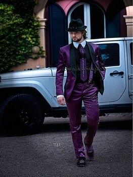 Custom Made Mens Suits Groom Tuxedos Groomsmen Wedding Party Dinner Best Man Suits Blazer (Jacket+Pants+Girdle+Tie) K:1863