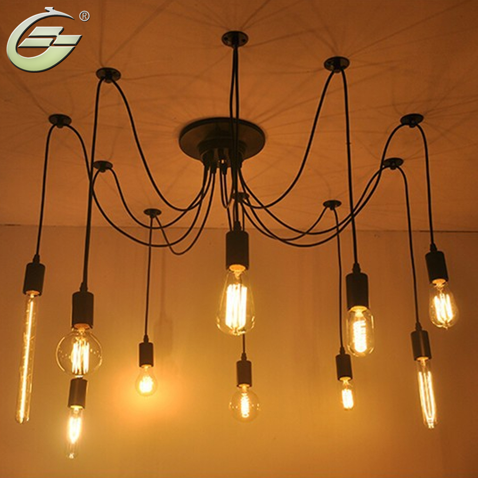 ФОТО Adjustable DIY Industrial Warehouse Vintage Spider Pendant Lamps Lights for Home Free Shipping
