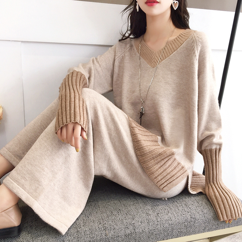 2019 Winter Autumn New Women 2 Pieces Pants Suits Knitted V-neck Loose Solid Sweater and Wide Leg Pant Lady Elegant Pant Suits