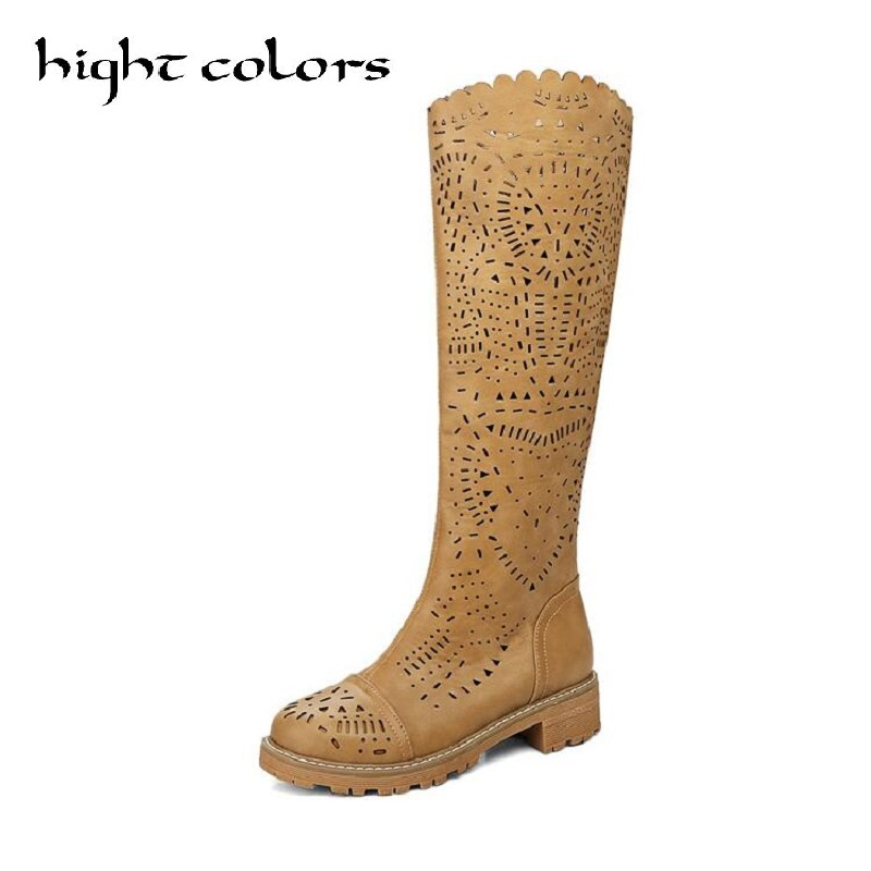 2017 Spring Summer Fashion Cutout Cool Boots For Women White Yellow High-Leg Single Boots Round Toe Thick Heels Shoes US 10.5 free shipping 2016 women s summer shoes thick heel open toe boots high heels beaded lace cool boots gauze cutout sandals