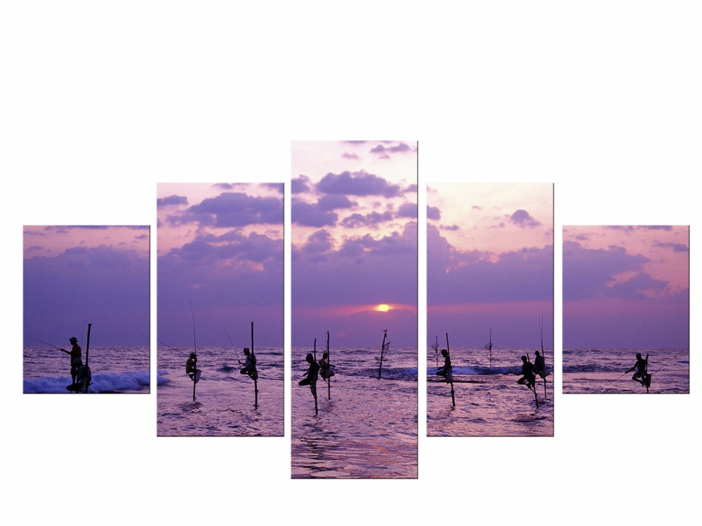 5 Pieces Printed Purple Sea Wave Sunset Landscape Painting Canvas Modular Picture for Wall Art Home Decor Living Room Framed in Painting Calligraphy from Home Garden